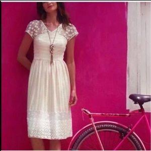 Anthropologie Ivory Dream Wedding Midi Lace Dress